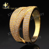 New 2014 24K Gold Plated Rhodium Brass Micro Pave White CZ Rings For Women 2014 Fashion