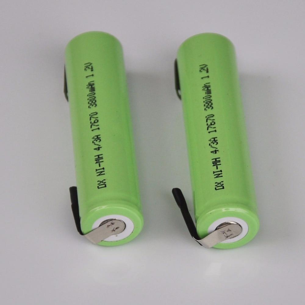 2-5 uds/4/3A 1,2 V recargable de 3800mah de la batería 7/5A 17670 de 17650 Ni-MH nimh celda con soldadura de pines para máquina de afeitar eléctrica cepillo de dientes