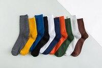 NEW 2018 Solid Colors Men Dress Business Socks Stripes Simple Cotton Crew Socks Good Quality K4126K 1 5