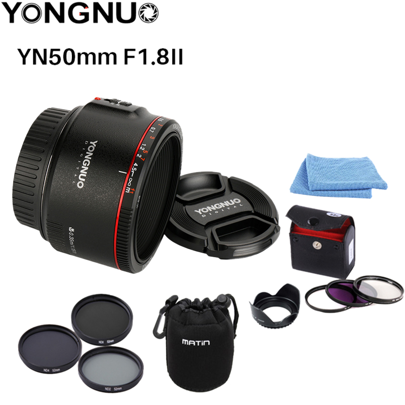 YONGNUO YN50mm F1 8 II Large Aperture Auto Focus Lens for Cannon Bokeh Effect Camera Lens