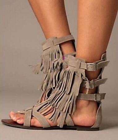 2d00f6ca90 Grey/black tassels flat sandals for women buckles strap open toe cover heel  fringed sandal booties summer ankle boots size 35-43