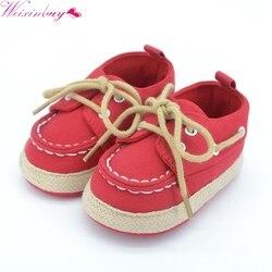 Weixinbuy bebê menino menina azul vermelho tênis macio inferior berço sapatos tamanho nascido a 18 meses venda quente 3 cores