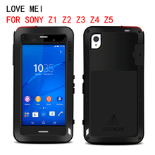 LOVE MEI waterproof case for Sony Xperia Z1 Z2 Z3 Z4 Z5 compact case cover armored metal phone bag case Tempered glass