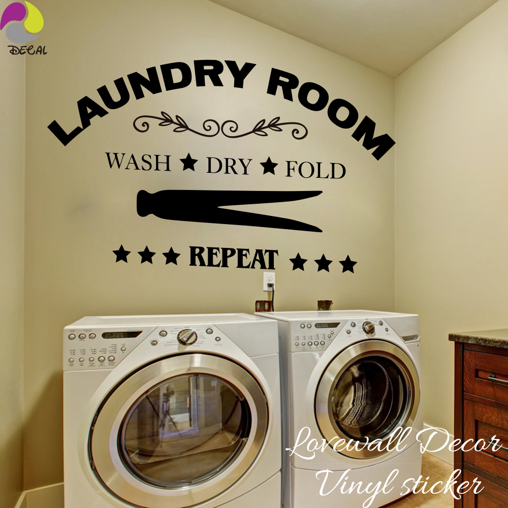 Laundry Room Wall Sticker Wash Dry Fold Repeat Laundry ...