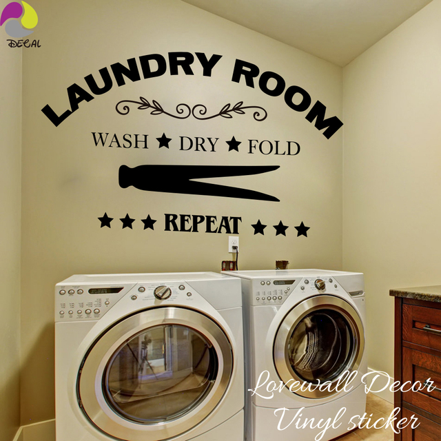 Laundry Room Wall Sticker Wash Dry Fold Repeat Laundry Room Lettering Wall  Decal Laundry Room Decor
