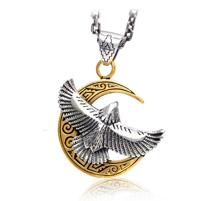Soaring eagle pendant handmade solid 925 sterling silver eagle soaring eagle pendant handmade solid 925 sterling silver eagle pendant featuring an eagle gold moon bird mozeypictures Gallery