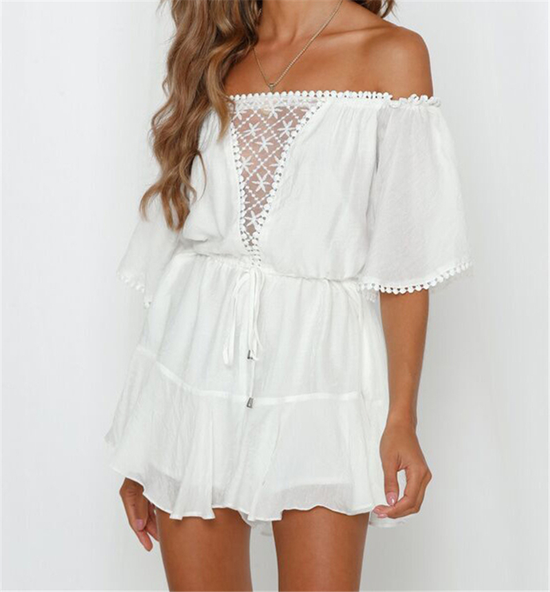 White Lace Summer Urban Women Off Shoulder Playsuit Shorts Ladies Elegant Backless Ruffle Romper Sexy Shorts Overalls Jumpsuits