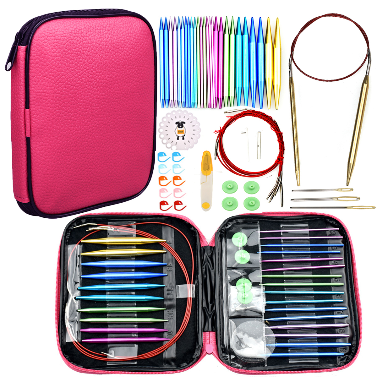 26pcs Aluminum Change Head Circular DIY Knitting Needles Crochet Scissors Needles Sewing Accessories Crochet Hook Set With Case