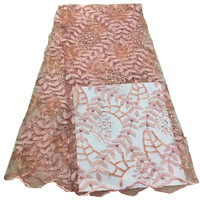 Latest Leaves Design Beaded And Stones Embroidery French Tulle Fabric African Laces X539 4