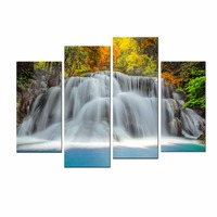 4 Pcs The Forest Waterfall Modern Giclee Canvas Prints Contemporary Artwork Landscape Pictures Photo Painting on Canvas Wall Art
