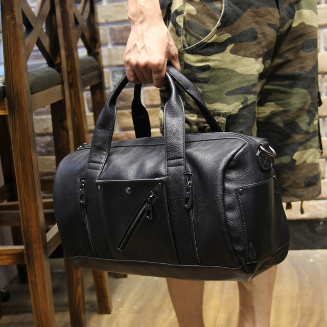 0a111d2a0066 New Design High Quality PU Leather Men s Travel Bags Large Capacity Men  Messenger Bags Travel Duffle