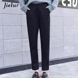 Jielur 2018 корейские повседневные шаровары женские осенние зимние свободные черные серые капри с карманами с эластичной талией шерстяные