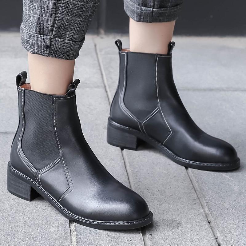 Chelsea Nemaone De Chaussures Véritable 2018 L'ouest Bottes Talons Bas Noir Mode En Cuir Printemps blanc Dames Chaussons Cheville Femmes grzxgqXwA