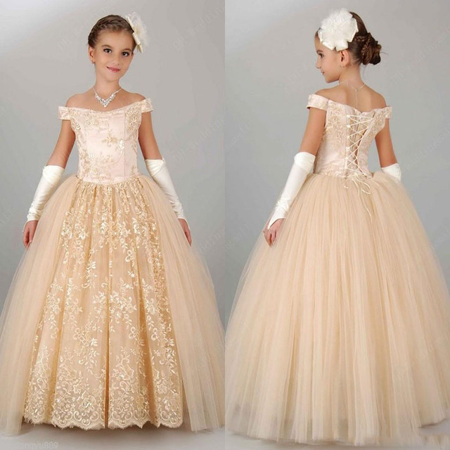 7528caa94 Champagne Lace Flower Girl Dress Baby Girls Dress first Communion ...