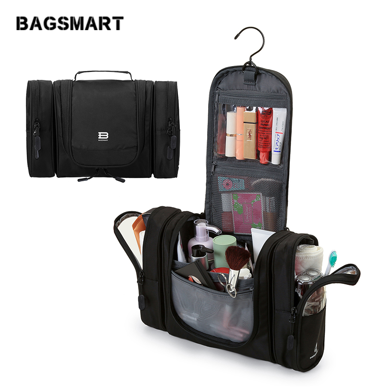 BAGSMART Козметичка Пътуване Козметична чанта Организатор на багаж Чанти за тоалетни жени Грим Чанта Водоустойчив Bolsa Neceser Maquillaje