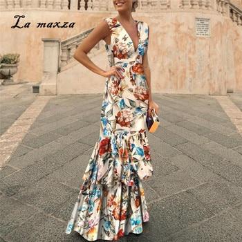2019 vestido de verano para mujer vestido Vintage Sexy estampado para fiesta noche elegante ceñido al cuerpo Maxi vestido