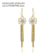 Neoglory Austria Rhinestone Simulated Pearl Drop Earrings 14K Gold Plated Fashion Gift Elegant Style For Women New Wholesale