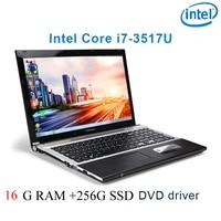 """מקלדת ושפת 16G RAM 256G SSD השחור P8-21 i7 3517u 15.6"""" מחשב נייד משחקי מקלדת DVD נהג ושפת OS זמינה עבור לבחור (1)"""