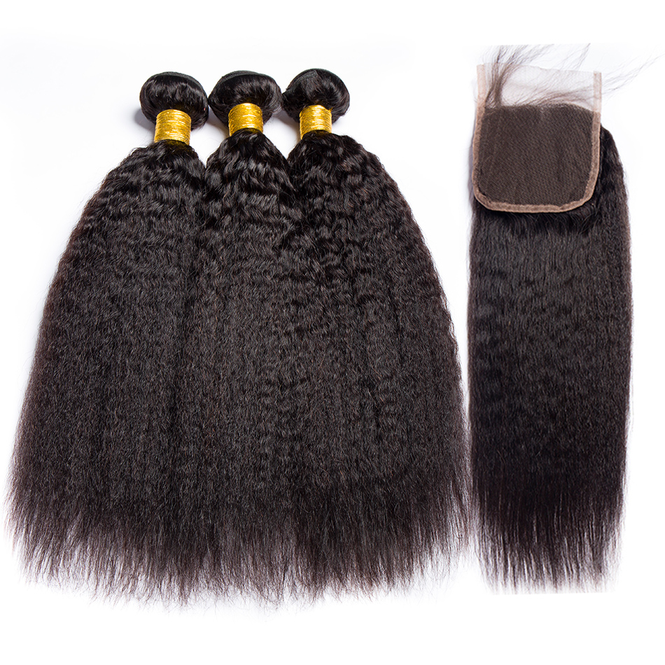 ALIBELE HAIR Kinky Straight Hair Bundles With Closure Remy Human Hair Weave 3 OR 4 OF