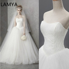 LAMYA Custom Wedding Dress 2019 Cheap Celebrity Strapless Vintage Tulle Bridal Ball Gown Organza Lace bridal dresses D-14018
