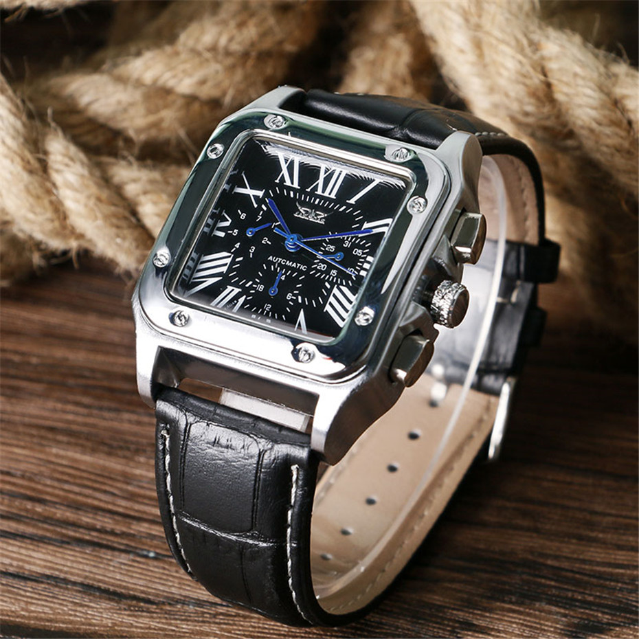 JARAGAR Mechanical Watches Men Fashion Genuine Leather Wrist Watch Automatic Date Day Display Watches Mens Clock with Gift Box (15)