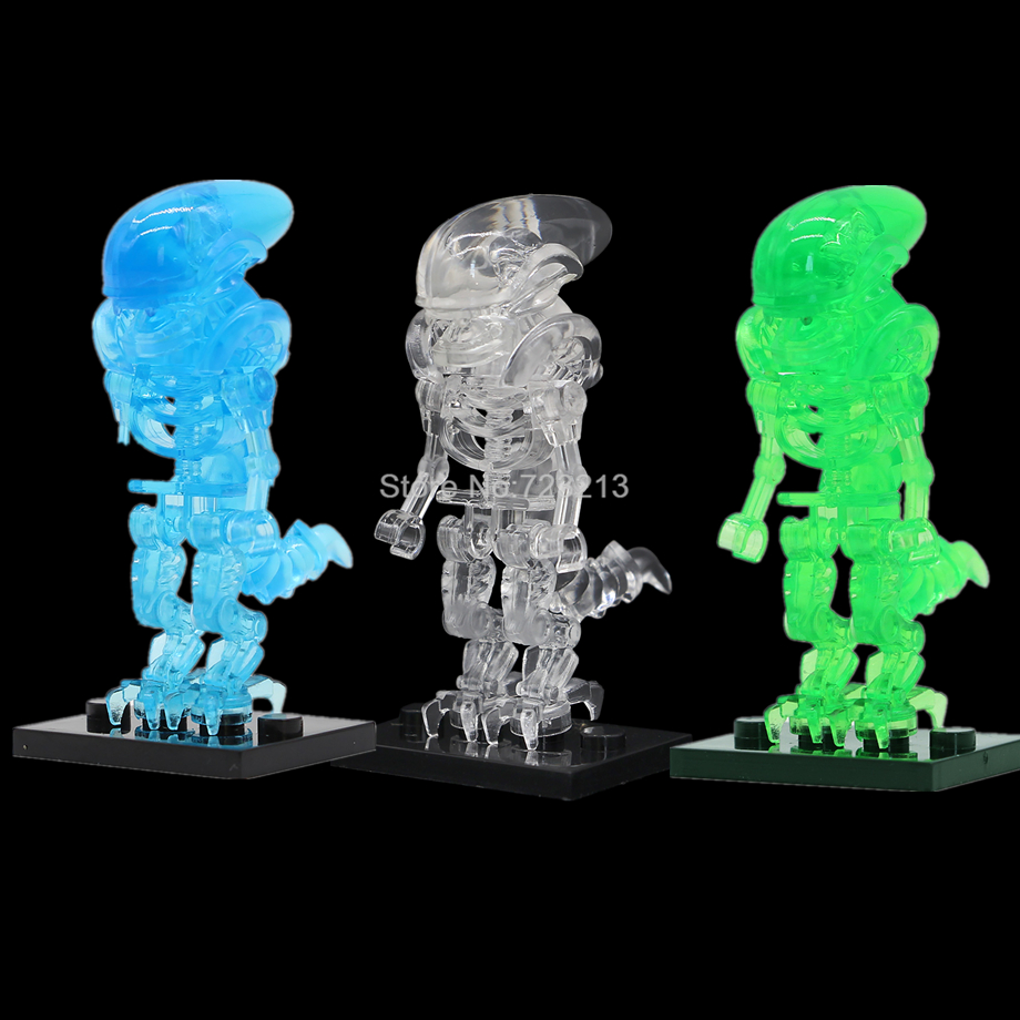 Single Clear Blocks Movie Alien Legoing Figure Blue Green Aliens Set Model Clear Building Block Kits Brick Toy For Children