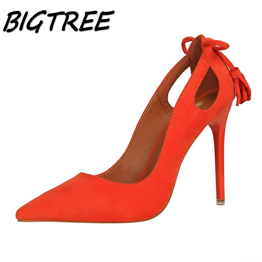 BIGTREE summer women Pointed Toe High heel shoes woman shallow pumps ladies Fashion Hollow out tassel stilettos sexy shoes egonery women fashion pumps for summer pointed toe low heel shoes hollow pumps out side footwear elegant shoes woman plus size