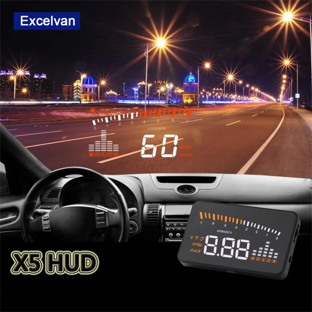 Aliexpress com buy excelvan x5 3 universal auto car hud head up display overspeed warning windshield project alarm system obd ii interface from reliable