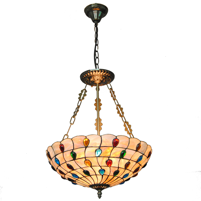 European Retro Stained Glass Hanging Lamp Tiffany Style Peacock Inverted Pendant Lights For Cafe Restaurant Living Room PL705 fumat stained glass pendant lamps european style glass lamp for living room dining room baroque glass art pendant lights led