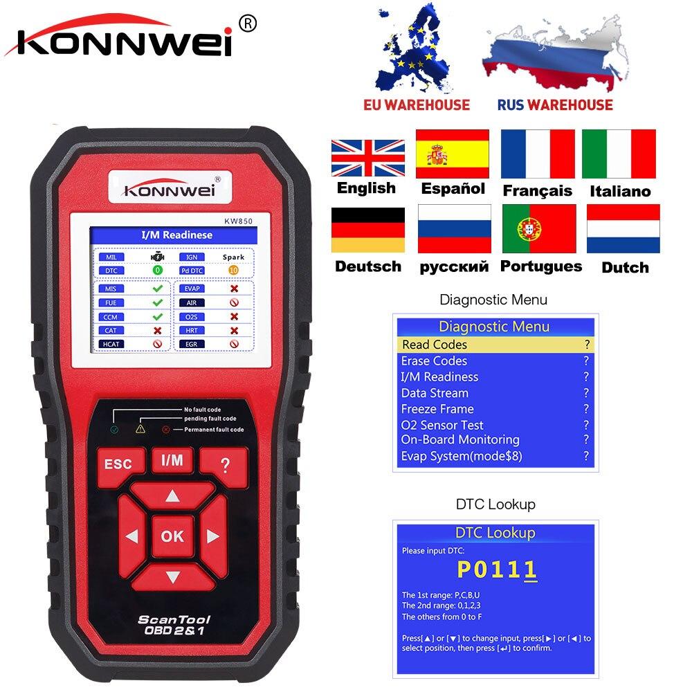 Krachtig 2018 Auto Scanner Konnwei Kw850 Volledige Obd2 Obdii Diagnostic Tool Ondersteuning Multi-taal Een Klik Update Kw 850 Beter Dan Al519