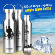 Stainless steel single layer sports cup outdoor portable water bottle super large capacity summer riding bicycle kettle