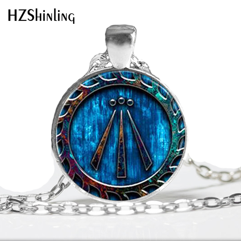 HZ--A514 New Glass Necklace Awen Symbol Pendant Druid Necklace Jewelry Glass Dome Neckla ...