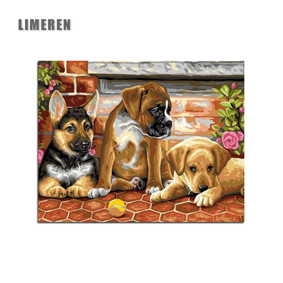Unframed Dogs DIY Painting By Numbers Modern Wall Art Picture Handpainted Oil Painting Unique Gift Home Decor image