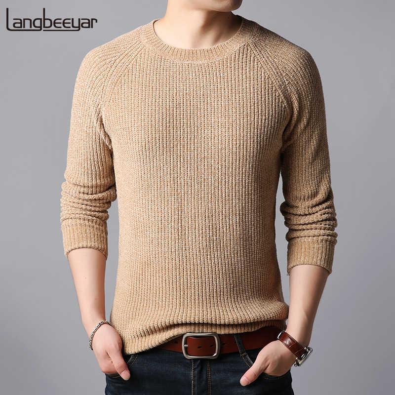 7e51e6749e12 Толстые Новые модные брендовые свитера мужские пуловеры с круглым вырезом  теплые Slim Fit Джемперы Knitred Осень