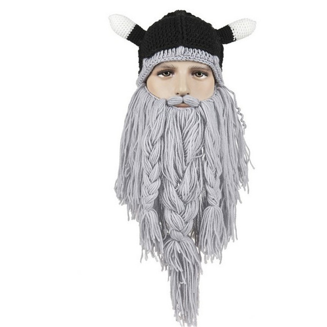 Novelty Knitted Horn Men Women Caps Viking Beanies Beard Handmade Crochet Hat Funny Halloween Festival Birthday Gift Casquette