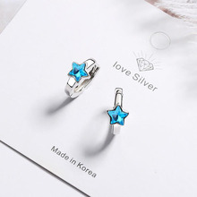 KOFSAC New 925 Sterling Silver Hoop Earrings For Women Jewelry Cute Crystal Blue Star Earring Lady Valentines day Accessories