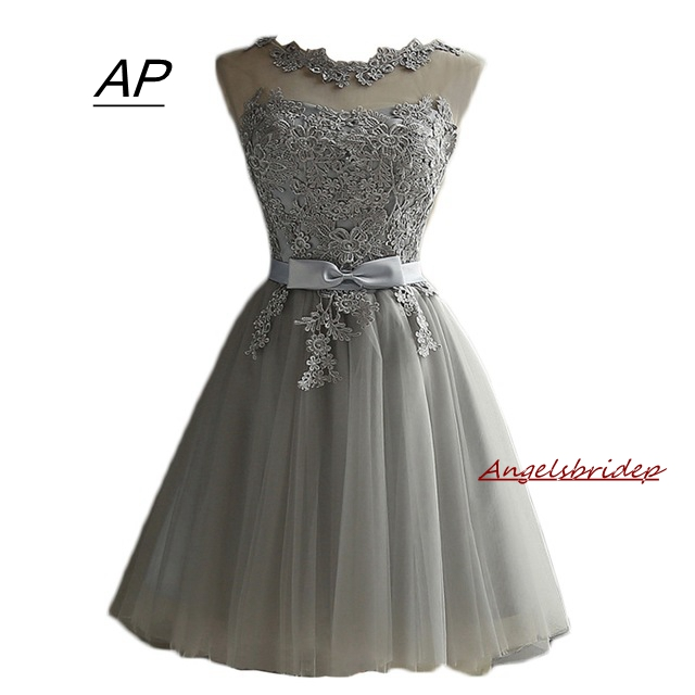 ANGELSBRIDEP Homecoming Dress Cheap A Line Mini Graduation Dresses Sheer Neck Grey Short Prom Party Gowns