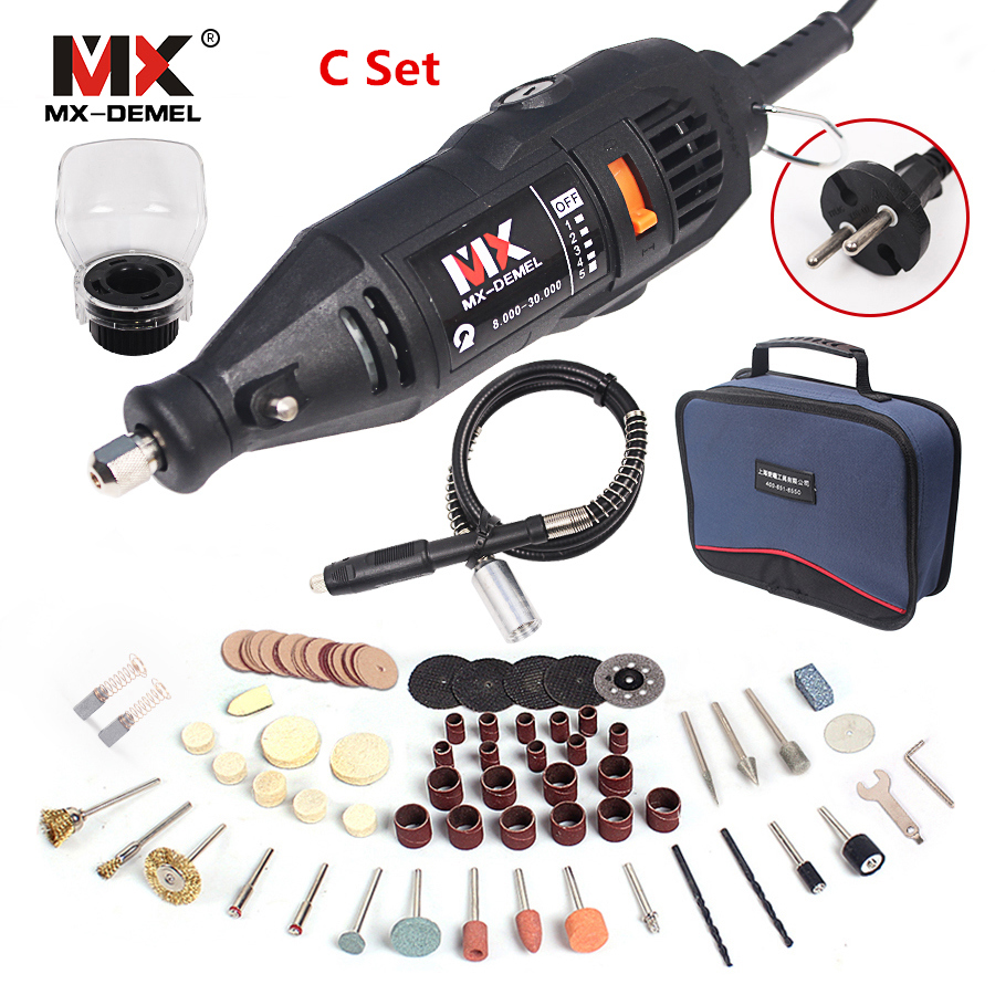 MX-DEMEL 130W Electric Rotary Tool Variable Speed Multipro Drill Dremel style Carving Pen Soft Shaft With Accessories