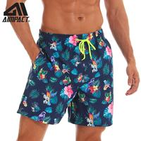AIMPACT Mens Swim Trunks Quick Dry Swimsuits Beach Board Shorts for man Colorful Flower Parrot with Mesh Lining Pocket AM2199