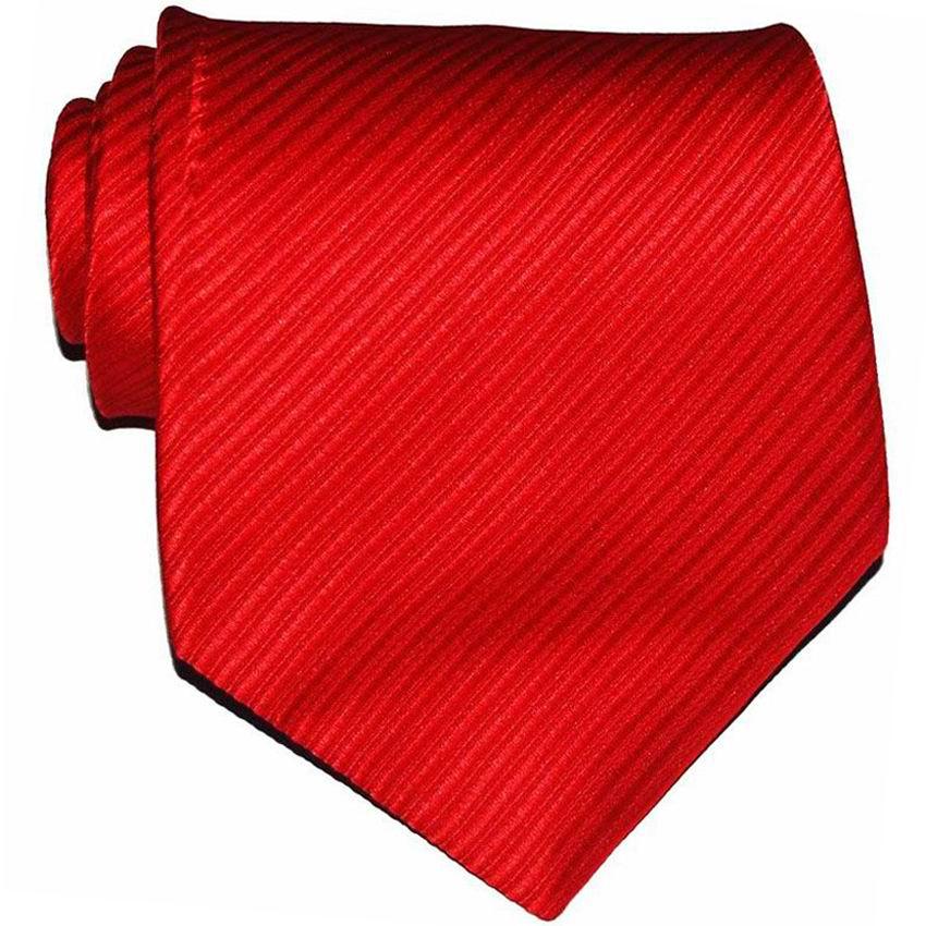 10 cm Largeur Nouveau Classique Solide Couleur Rayé Cravates Pour Hommes Jacquard Tissé 100% Soie Cravate De Noce Hommes de Cravate Cravate Rouge