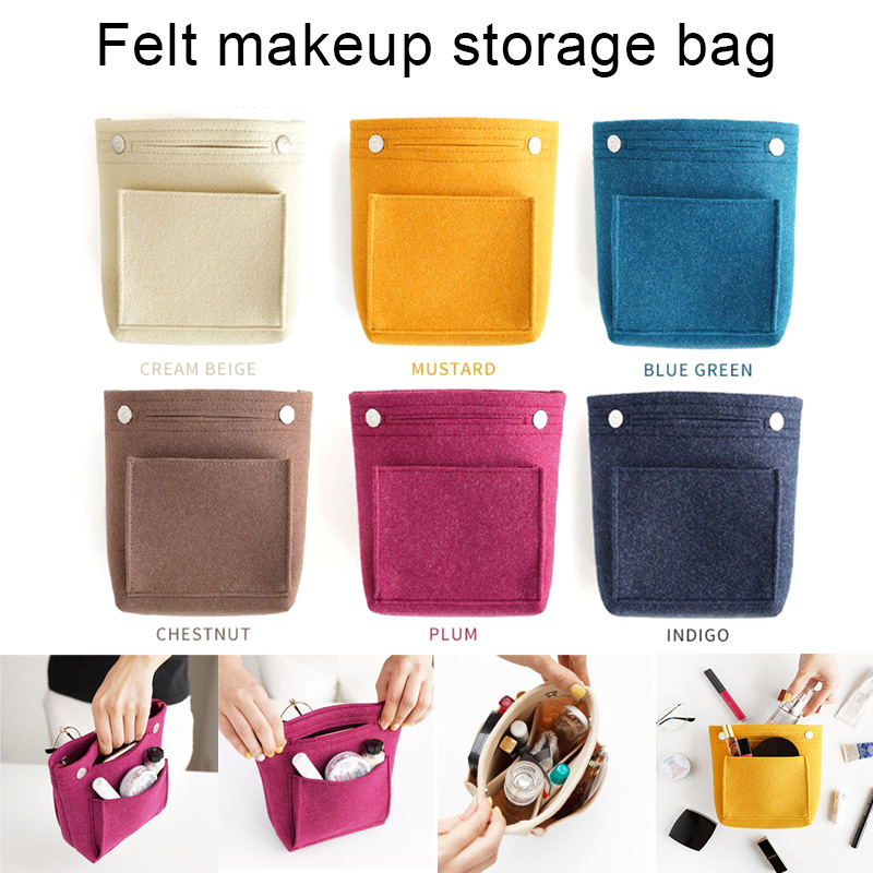 2019 New Women Portable Makeup Bag Felt Fabric Insert Handbag Cosmetics Organizer Trousse Maquillage Femme Neceser Maquillaje