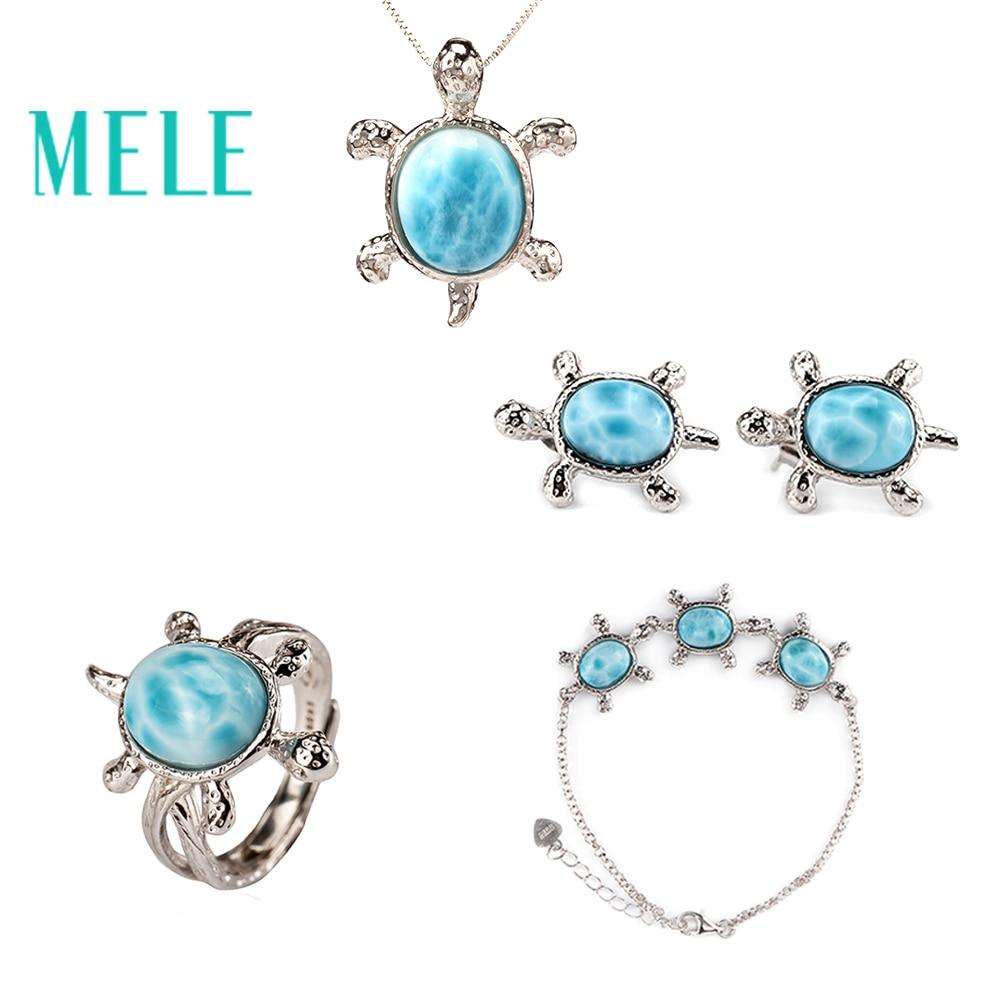 Tortue forme naturel deep blue larimar bijoux ensembles avec argent 925, classique style beaux bijoux pour femmes et homme, meilleur cadeau