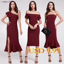 2018 Hot Sale Ever Pretty Elegant Burgundy Evening Dresses Tea-Length Split Simple Design EP07234BD Women Formal Evening Gowns