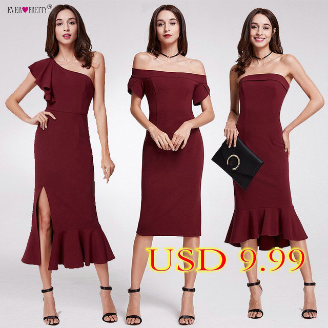 Robe De Soiree Ever Pretty Elegant Burgundy Evening Dresses Tea-Length Split Simple Design EP07234BD Women Formal Evening Gowns
