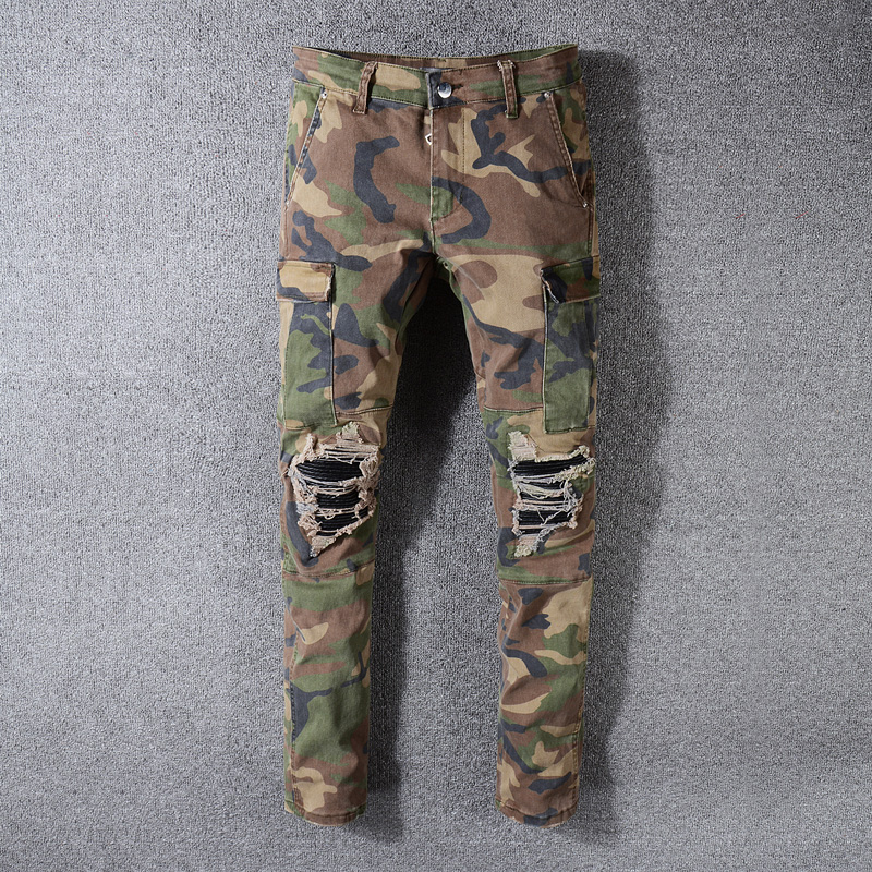 Fashion Streetwear Men Jeans Camouflage Military Big Pocket Cargo Pants Slim Fit Leather Patch Designer Ripped Hip Hop Jeans Men
