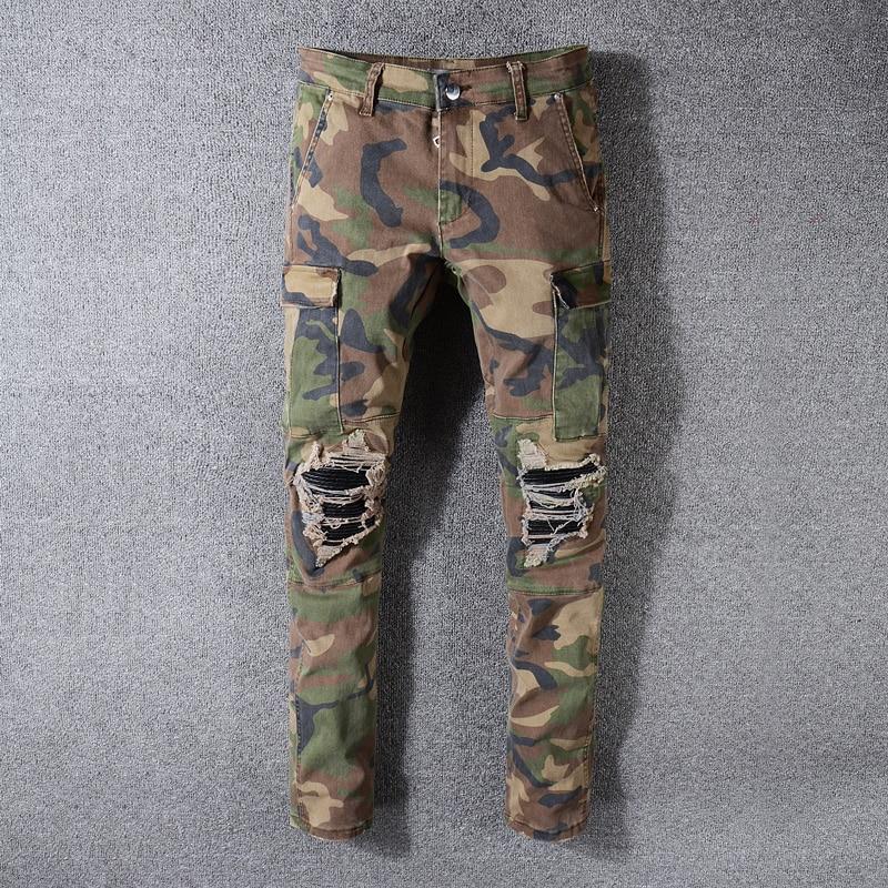 Fashion Streetwear Men Jeans Camouflage Military Big Pocket Cargo Pants Slim Fit Leather Patch Designer Ripped Hip Hop Jeans Men