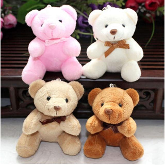 4 PCs Hot Sale 10CM Mini Teddy Bear WEDDING BEAR Plush Toy For Little Babys Gift Soft PP Cotton Stuffed TV Movie Cartoon Figure