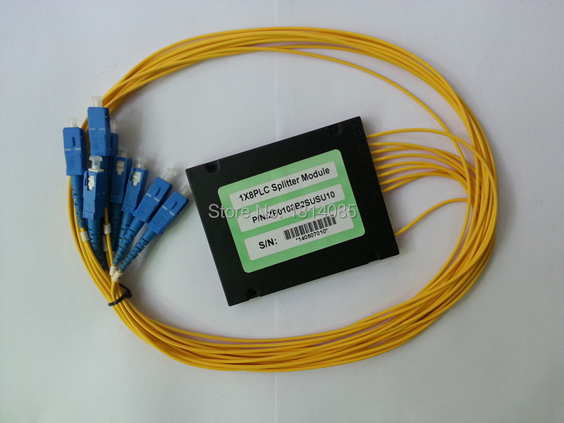 Gwerthu Poeth 3.0mm 1x8 Blwch Modiwl ABS Math SC / PC Connector Fiber Optical PLC Splitter
