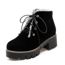 DoraTasia Big Size 34-43 Motorcycle Boots Women With Warm Fur Winter Shoes Square Heels Lace Up Thick Platform Boots Woman