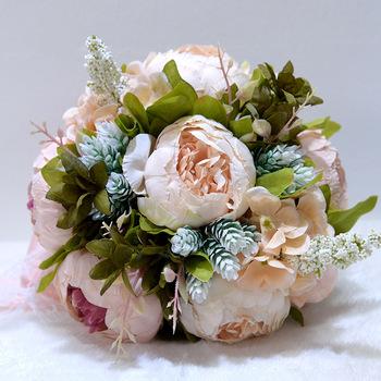 Biały bukiety ślubne piwonie niebieski bukiet ślubny kwiaty ślubne bukiety ślubne akcesoria ślubne różowy bukiet De Mariage tanie i dobre opinie Poliester D755 0 22 LBKKC DRESSES